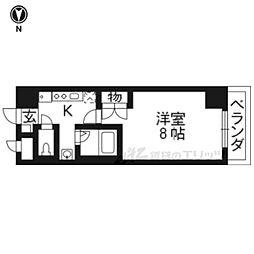 京阪本線 伏見稲荷駅 徒歩2分の賃貸マンション 5階1Kの間取り