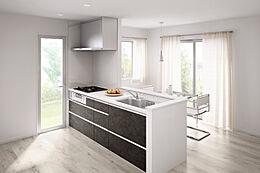 マット&ダークなヴィンテージメタル柄とホワイト系ワークトップのコントラストが美しいトレンド感あふれるスタイリッシュなキッチン。人造大理石ワークトップは耐久性に優れ、拭き取りやすいです