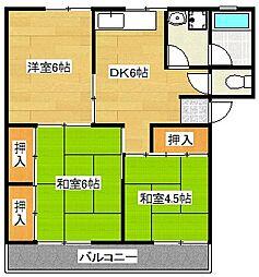第1稲永コーポ[201号室]の間取り