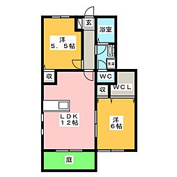 サウスヴィラB[1階]の間取り
