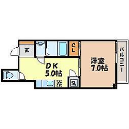 パレス花丘 4階1DKの間取り