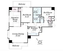 専有面積70.66m2・3LDKの広々間取り。三方角部屋・2面バルコニー・ペット飼育可能です。