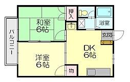 ハイム瓦田[1階]の間取り