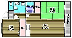 グランピア富田林[1階]の間取り