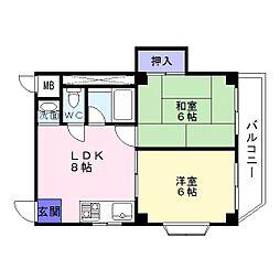 ピュアコート清風[3階]の間取り