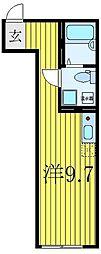 東武東上線 大山駅 徒歩8分の賃貸マンション 4階ワンルームの間取り