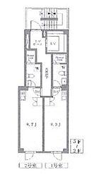 東京メトロ銀座線 末広町駅 徒歩3分の賃貸マンション 2階ワンルームの間取り