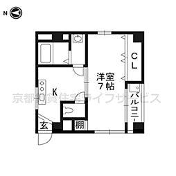 コーポ東福寺[202号室]の間取り