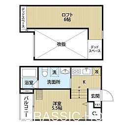 大阪府堺市西区浜寺諏訪森町東1丁の賃貸アパートの間取り