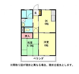 愛知県一宮市開明字郷中の賃貸アパートの間取り
