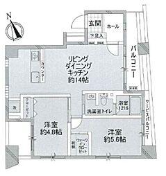 JR山手線 浜松町駅 徒歩7分の賃貸マンション 5階2LDKの間取り