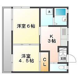 ハイツ吉田C[2階]の間取り