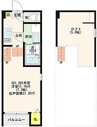 仮称)京都市山科区大宅SKHコーポ B棟[201号室]の間取り