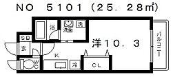 パラシオン上本町[7階]の間取り