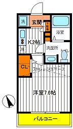 東京都日野市東豊田2丁目の賃貸アパートの間取り