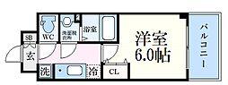 神戸高速東西線 新開地駅 徒歩6分の賃貸マンション 15階1Kの間取り