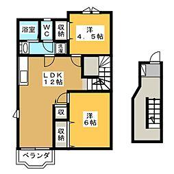 ピュアハウス桐野B棟[2階]の間取り