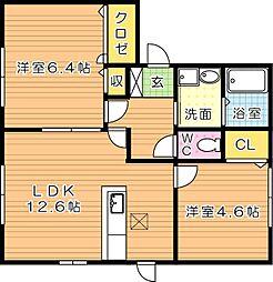 グランブルー C棟[1階]の間取り