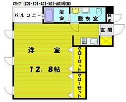 ウィングコート花見[3階]の間取り
