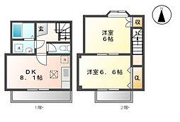 愛知県名古屋市緑区大高町字丸根の賃貸アパートの間取り