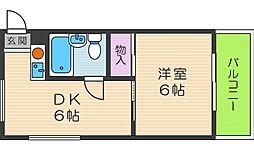 エフィーネ西田辺[3階]の間取り