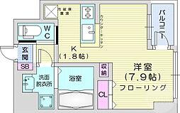 仙台市営南北線 仙台駅 徒歩12分の賃貸マンション 9階ワンルームの間取り