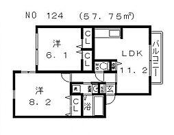 ヴィラ万代東[1階]の間取り