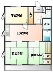 愛知県愛知郡東郷町三ツ池3丁目の賃貸アパートの間取り