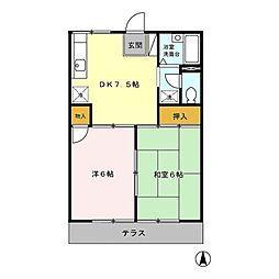 パークサイドハウス[B103号室]の間取り
