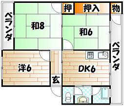 福岡県北九州市小倉北区井堀1丁目の賃貸マンションの間取り