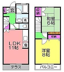 [テラスハウス] 千葉県千葉市花見川区作新台3丁目 の賃貸【/】の間取り
