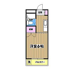 東京都国立市青柳の賃貸マンションの間取り