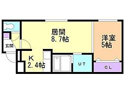 Aprire Sumikawa(アプリーレ澄川) 3階1LDKの間取り