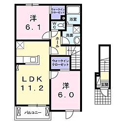 フィデール(篠ノ井会)A棟[202号室号室]の間取り
