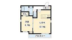 ソレイユ新森 3階1LDKの間取り