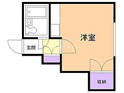 富士マンション暁 4階ワンルームの間取り