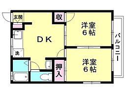 コーポカサハラ 2階2DKの間取り
