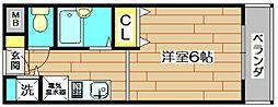 シャトー黒田[4階]の間取り