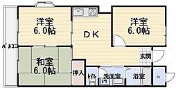マンション弥生[4階]の間取り