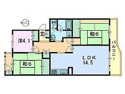 奈良三条町住宅 3号棟[404号室]の間取り