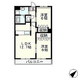 滋賀県大津市雄琴3丁目の賃貸アパートの間取り