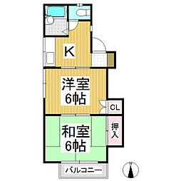 中島ハイツ A棟 1階2Kの間取り