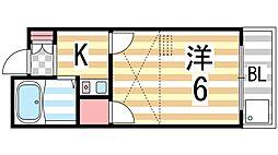 グリーンコートKAWADA[204号室]の間取り