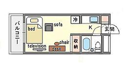 家具・家電付き ラ・レジダンス・ド・天神 H[2階]の間取り