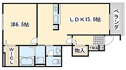 大阪府貝塚市澤の賃貸アパートの間取り