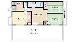愛知県名古屋市守山区瀬古東3丁目の賃貸マンションの間取り