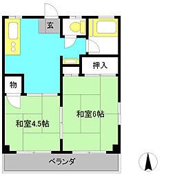 メゾンドリビエール1[2階]の間取り