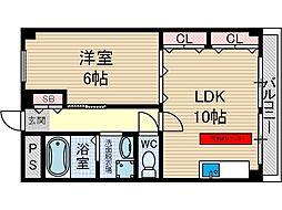 タウンハイツ南茨木2号館[3階]の間取り