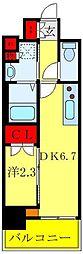 リアンシエルブルー田端 8階1DKの間取り