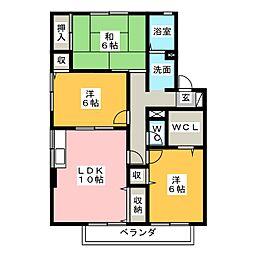 静岡県藤枝市高柳2丁目の賃貸アパートの間取り